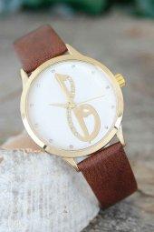 Elif Vav Tasarımlı Kahverengi Deri Kordonlu Bayan Saat
