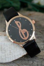Gold Renk Taşlı İç Tasarım Siyah Deri Kordon Kadın Saat