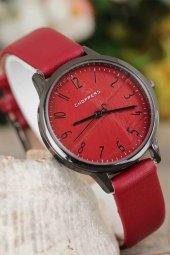 Füme Renk Metal Kasa Bordo İç Tasarımlı Bordo Renk  Deri Kordonlu Bayan Saat-2