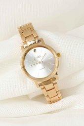 Gold Renk Metal Kordonlu Beyaz Renk İç Tasarımlı Yeni Sezon Bayan Kol Saati