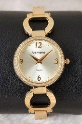 Vomeno Gold Çelik Kordon Taşlı Kasa Kadın Kol Saati