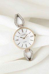 Silver Taşlı Metal Kordonlu Yeni Sezon Beyaz Renk İç Tasarımlı Bayan Clariss Marka Kol Saati