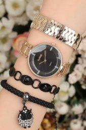 Taşlı Baykuş Figürlü Şık Hediye Kombin Saat Seti I Kadın Hediye Saat Modelleri