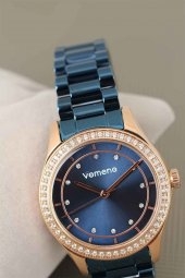 Vomeno Marka 2 Yıl Garantili Lacivert Renk Metal Kordon Taşlı Kasa Bayan Kol Saati-2