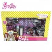 Barbie 11 Parça Çelik Mutfak Seti