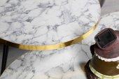 Som Tasarım Beyaz Mat Mermer Görünümlü Parlak Kenarlı Zigon Sehpa-9