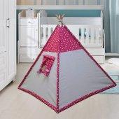 Altev Yıldız Desenli Ahşap Çoçuk Çadırı Kızılderili Çadırı Oyun Evi Oyun Çadırı Kamp Çadırı Yastıklı Minderli
