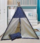Altev Yıldız Desenli Ahşap Çoçuk Çadırı Kızılderili Çadırı Oyun Evi Oyun Çadırı Kamp Çadırı Yastıklı Minderli-5