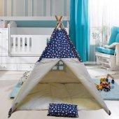 Altev Yıldız Desenli Ahşap Çoçuk Çadırı Kızılderili Çadırı Oyun Evi Oyun Çadırı Kamp Çadırı Yastıklı Minderli-6