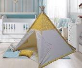 Altev Yıldız Desenli Ahşap Çoçuk Çadırı Kızılderili Çadırı Oyun Evi Oyun Çadırı Kamp Çadırı Yastıklı Minderli-7
