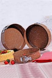 Granit 3lü Kelepçeli Kek Kalıbı Kahverengi