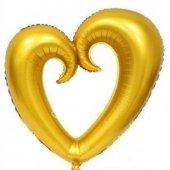 Içi Boş Kalp Gold Balon