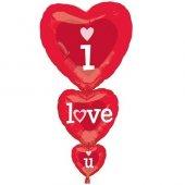 ı Love You 3lü Kalp Folyo Balon