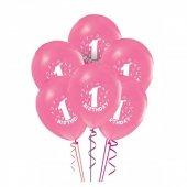 1 Yaş Kız Doğum Günü Pembe Balon 10 Adet
