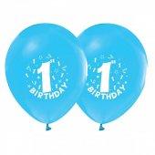 1 Yaş Erkek Doğum Günü Mavi Balon 10 Adet