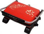 Dökümix Dekorıx Organik Demir Döküm Tost Makinası Kırmızı 1800w Tel Fırç Hediye