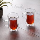 2'li Çift Cidarlı Kulplu Çay Bardağı,tatlı Bardagi , Magnolya Cup,çift Katlı Çay Bardağı