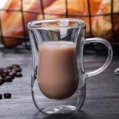 çift Cidarlı Kulplu Çay Bardağı,tatlı Bardağı,magnolya Cup,çift Katlı Çay Bardağı