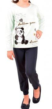 Kız Çocuk Pijama Takımı Uzun Kollu Garson Pamuk Diyagonel