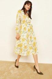 Kadın Sarı Desenli Midi Boy Elbise-2