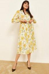 Kadın Sarı Desenli Midi Boy Elbise-3