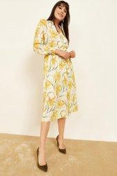 Kadın Sarı Desenli Midi Boy Elbise-4
