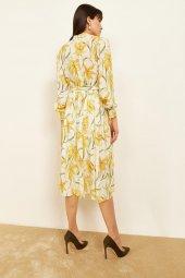 Kadın Sarı Desenli Midi Boy Elbise-5
