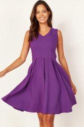Kadın Mor Pileli Kloş Elbise-2