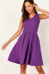 Kadın Mor Pileli Kloş Elbise-3