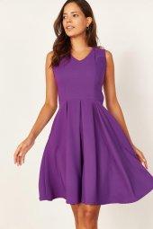 Kadın Mor Pileli Kloş Elbise-4
