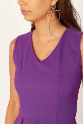 Kadın Mor Pileli Kloş Elbise-5