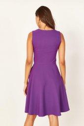Kadın Mor Pileli Kloş Elbise-6