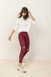 Kadın Bordo Dizleri Çakım Detaylı Süet Tayt Pantolon-5