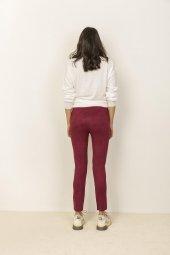 Kadın Bordo Dizleri Çakım Detaylı Süet Tayt Pantolon-6