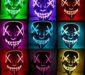 Led Işıklı Yanıp Sönen Renkli Hallowen Led Işıklı Neon Maske