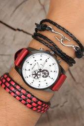 Spectrum Erkek Kol Saati Kombini Kırmızı Deri Kordon