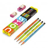 Doms Neon Kurşun Kalem 12li + Silgi + Kalemtraş