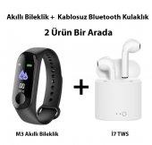 M3 Akıllı Bileklik + Tws İ7 Kablosuz Bluetooth Kulaklık (İkisi Bir Arada)