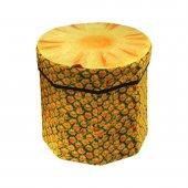 Ananas Desenli Portatif Oturak Ve Çok Amaçlı Saklama Kutusu