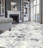 Gri Beyaz Modern Oturma Odası Halısı - HS97070-3