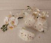 Papatyalı Kız bebek patik bandana takımı