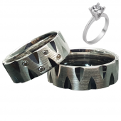 Taşlı Gümüş Çift Alyans Yüzük Tek Taş Hediyeli DN5027