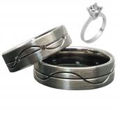 Taşlı Gümüş Çift Alyans Yüzük Tek Taş Hediyeli DN5030