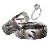 Taşlı Gümüş Çift Alyans Yüzük Tek Taş Hediyeli DN5040