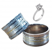 Taşlı Gümüş Çift Alyans Yüzük Tek Taş Hediyeli DN5046
