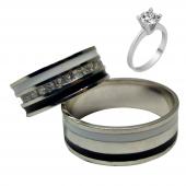 Taşlı Gümüş Çift Alyans Yüzük Tek Taş Hediyeli DN5092