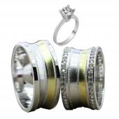 Taşlı Gümüş Çift Alyans Yüzük Tek Taş Hediyeli DN5127