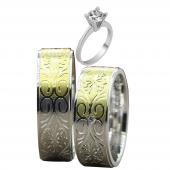 Taşlı Gümüş Çift Alyans Yüzük Tek Taş Hediyeli DN5144