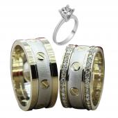 Taşlı Gümüş Çift Alyans Yüzük Tek Taş Hediyeli DN5169