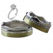 Taşlı Gümüş Çift Alyans Yüzük Tek Taş Hediyeli DN5180